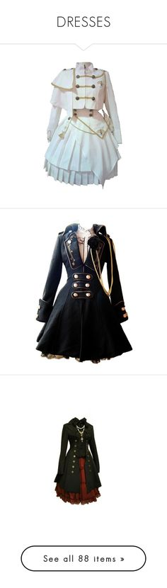 """""""DRESSES"""" by balancewarlord ❤ liked on Polyvore featuring dresses, outerwear, lolita, coats, jackets, steampunk, long sleeve dress, longsleeve dress, long sleeve day dresses and frill hem dress"""