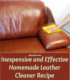 Inexpensive and Effective Homemade Leather Cleaner Recipe ¼ cup of olive oil ½ cup of regular vinegar A spray bottle Just mix the two ingredients together in your spray bottle and shake it well. Now you just have to spray the leather down and wipe it clean with a cotton cloth.