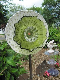 glass garden art flower yard art art glass garden