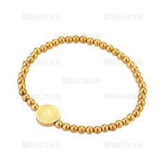 pulsera de bolitas con letra Y de dorado en acero-SSBTG1094306