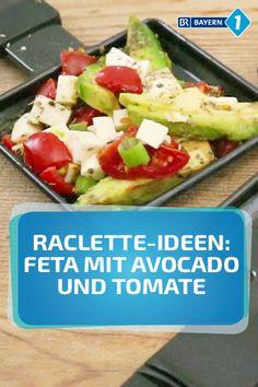 Raclette mit Feta - dazu kommen Cocktailtomaten, Frühlingszwiebeln und Avocado - super Rezept für Abwechslung im Raclette-Pfännchen, einfach vorzubereiten aufstrich dessert pflanzen recipes rezept salad salat toast Corn Fritter Recipes, Cheese Recipes, Shrimp Recipes, Paleo Recipes, Great Recipes, Snack Recipes, Dinner Recipes, Cooking Recipes, Feta