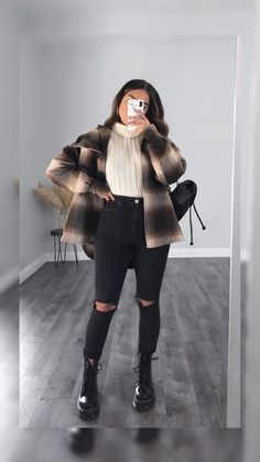 Trendy Fall Outfits, Casual Winter Outfits, Edgy Outfits, Winter Fashion Outfits, Mode Outfits, Retro Outfits, Look Fashion, Girl Outfits, College Winter Outfits