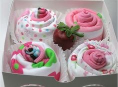 Cupcake socks: wrap socks to look like cupcakes and top each with a red wrapped candy such as a lindor truffle