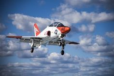 ATLANTIC OCEAN (March 20, 2017) A T-45C Goshawk training aircraft assigned to Carrier Training Wing (CTW) 1 approaches the aircraft carrier USS Dwight D. Eisenhower (CVN 69). (U.S. Navy photo by Mass Communication Specialist 3rd Class Nathan T. Beard/Released)