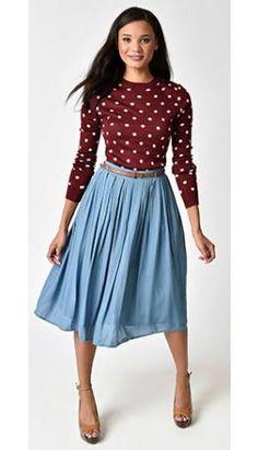 Vintage Style Light Blue Knee Length Pleated Skirt