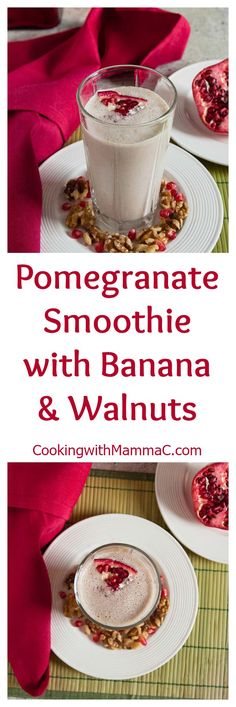 This Pomegranate Smoothie with Banana and Walnuts is delicious, refreshing, healthy, vegan & gluten free!
