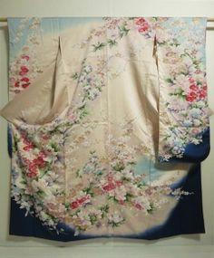 Japanese Kimono silk FURISODE Peacock, Flowers, Dyeing, 0206M4