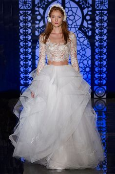 Lace long sleeves crop top wedding dress, Reem Acra Fall 2016 Wedding Dress Collection | Colin Cowie Weddings