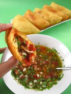 Colombian empanadas con aji - Mmm one of the things I miss the most.
