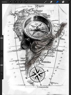 43 ideas for tattoo compass clock tattoo ideas – tattoo style - tattoo sleeve ideas Clock Tattoo Sleeve, Tattoo Sleeve Designs, Sleeve Tattoos, Tattoo Clock, Pirate Tattoo Sleeve, Nautical Tattoo Sleeve, Forarm Tattoos, Map Tattoos, Body Art Tattoos
