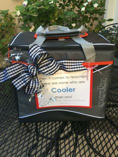 """Teacher appreciation gift suitable for a male teacher: each child brings a drink with a """"punny"""" tag attached to fill the cooler throughout the week. We emailed various tags to the class and told them to just print one out and tie it to their drink. Pinterest is full of cute tags you can use. #teacherappreciationgifts"""