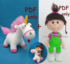 PLEASE NOTE: THESE ARE THE PATTERNS ONLY and NOT THE FINISHED TOYS!!!  Unicorn + Little baby girl bundle. Buy together and save!  Below are links to