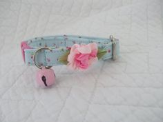 Shabby Chic Cat Collar Blue with Baby Rose Buds with Bell Cat Breakaway Collar Custom Made by graciespawprints on Etsy https://www.etsy.com/listing/169856576/shabby-chic-cat-collar-blue-with-baby