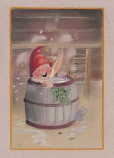 Gnome bathing by Kaarina Toivanen Christmas Pictures, Christmas Fun, Christmas Cards, Xmas, Illustrations, Illustration Art, Pet Mice, Artists For Kids, Christmas Illustration