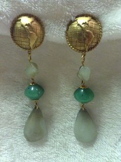Vintage Gold White And Green Dangle Clip On Earrings #566 #DropDangle