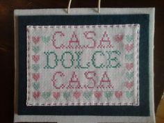 Quadretto Casa dolce casa a punto croce, by Amo a Mano, 10,00 € su misshobby.com