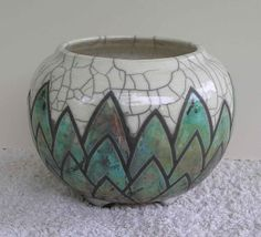 Jennifer Arthur. Raku fired vessel. Used fine Lithium in turquoise. Makes a big difference to the glaze result!