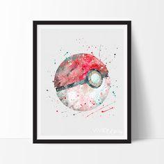 Pokeball, Pokemon Watercolor Art Print