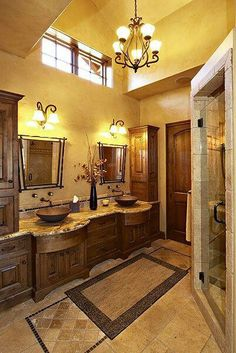 Bathroom- cabinets are a little over the top, but overall I like it
