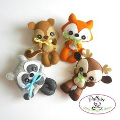 Woodland Animals set of Four PDF sewing pattern-Deer-Fox-Raccoon-Squirrel-Animal ornaments-Nursery decor-Baby's mobile toy Easy Felt Crafts, Fox Ornaments, Christmas Ornaments, Very Cute Baby, Diy Nursery Decor, Felt Fox, Sewing Stuffed Animals, Friends Set, Presents For Kids
