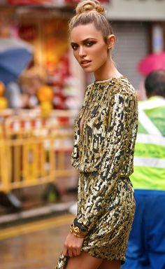 Black & Gold Sequin Dress