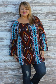 One Faith Boutique - Toast of the Town Aztec Tunic ~ Brown ~ Sizes 12-18, $39.00 (http://www.onefaithboutique.com/new-arrivals/toast-of-the-town-aztec-tunic-brown-sizes-12-18/)