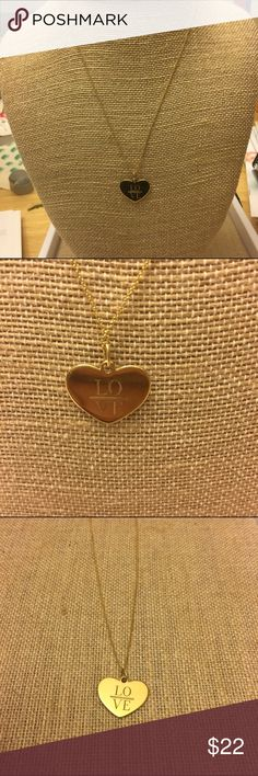 """Stella & Dot Engraved Heart 'LOVE' Necklace Gold plated Heart Charm Engraved with 'LOVE' set on a 16"""" Delicate Gold Chain. Has a 3"""" extender. IN NEW CONDITION Stella & Dot Jewelry Necklaces"""