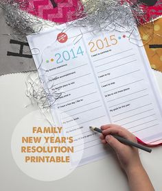 """Family New Year's Resolution Printable - Love this for helping the kids to look back on their year and make goals for the year ahead - the """"I want to try"""" and """"I want to stop"""" are our favorite categories."""