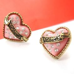 Love Heart Stud Earrings with Ribbon and Rhinestone Details on Gold