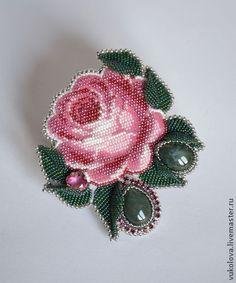 """Брошь """"Анастасия"""" - розовый,зеленый,белый,Моховой агат,брошь,роза,цветы"""