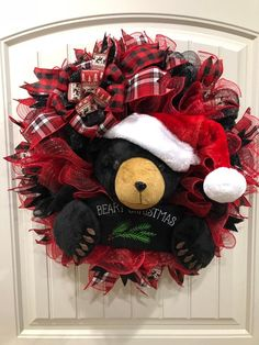 This adorable black Bear is waiting to greet your Christmas visitors! The hat and sign can be changed out to suit other seasons or events. Christmas Door Decorations, Christmas Signs, Holiday Wreaths, Christmas Greetings, Holiday Decor, Winter Wreaths, Christmas Stocking, Merry Christmas, Xmas