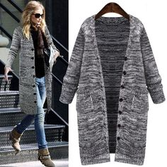 Cheap Thick Single Breasted Long Cardigan Sweater Coat For Big Sale!Thick Single Breasted Long Cardigan Sweater Coat, A line design, warm and stylish, popular to many fashion stars and elegant ladies. Long Sweater Coat, Cardigan Sweaters For Women, Long Sweaters, Long Cardigan, Cardigans For Women, Sweater Cardigan, Women's Cardigans, Hooded Sweater, Black Cardigan