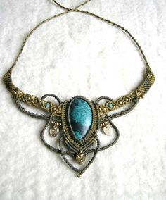 Macrame Fairy Pixie Necklace with Turquoise and Brass