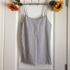 Mossimo Tank Lightweight. Worn once. Light grey striped tank top. Adjustable straps. Mossimo Supply Co. Tops Tank Tops