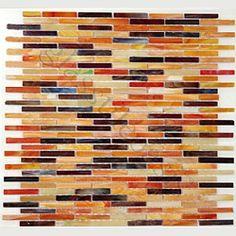 Orange Uniform Brick Orange Mini Brick Victorian Glossy Glass Tile-I LOVE this color way so much!!!