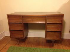 Mid Century Modern Desk $75 - Philadelphia http://furnishly.com/catalog/product/view/id/2883/s/mid-century-modern-7-drawer-desk/