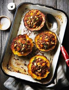 Middle Eastern Stuffed Acorn Squash [make it vegan with veggie butter]