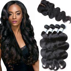 7a Brazilian virgin hair 4 bundles with closure body wave weave with closure Brazilian body wave with closure bleach brown lace