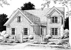 House Plan 68498   Country European Plan with 2077 Sq. Ft., 4 Bedrooms, 4 Bathrooms, 2 Car Garage