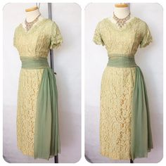 Vintage 1950s Sage Green Chiffon Side Hip Drape Sash by hipsmcgee, $175.00