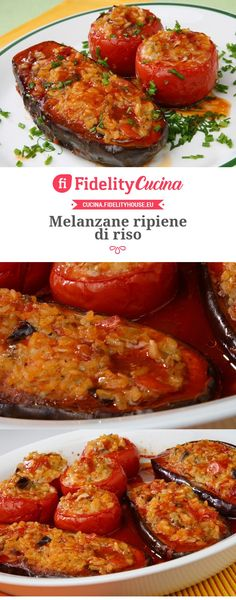 Aubergine with rice Melanzane ripiene di riso Italian Soup, Italian Dishes, Italian Recipes, Italy Food, Cooking Recipes, Healthy Recipes, Eggplant Recipes, Antipasto, Easy Dinner Recipes