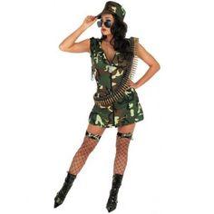 'Army Girl' Sexy Fancy Dress (Fun Shack 2163)