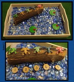 """Great sensory bin as we are learning the classic """"Five Green and Speckled Frogs"""""""