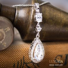 Bride / Bridal / Bridemaid Necklace gift, Diamond Simulant, 925 Sterling Silver Jewellery NZ.   Luxuria.