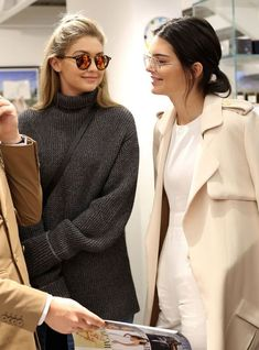 I used these two have a lot of pictures together with no smile!  Kendall Jenner and Gigi Hadid