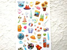 This is a cute Japanese summer stickers. On this summer stickers, lollipop, soda, sherbet, watermelon, ice cream, juice, sunflowers, goldfish in bowl, diary, paper fan, morning, glory, top are there. so yummy and cute!!