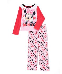 Look at this #zulilyfind! Pink & White Minnie Mouse Micro-Fleece Pajama Set - Girls by Minnie Mouse #zulilyfinds