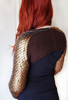 Anodized aluminum dragon scale shrug scale by Silmarilclothing