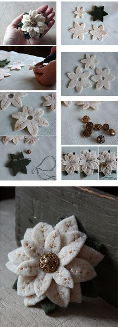 ideas flowers fabric diy brooches for 2019 Felt Flowers, Diy Flowers, Fabric Flowers, Paper Flowers, Fabric Flower Brooch, Felt Crafts, Fabric Crafts, Sewing Crafts, Felt Christmas