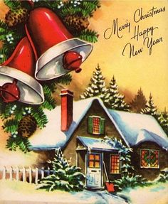 Vintage christmas cards with bells - - yahoo image search results natal рож Christmas Scenes, Christmas Past, Christmas Bells, Christmas Greetings, Christmas Crafts, Christmas Specials, Cottage Christmas, Vintage Christmas Images, Retro Christmas